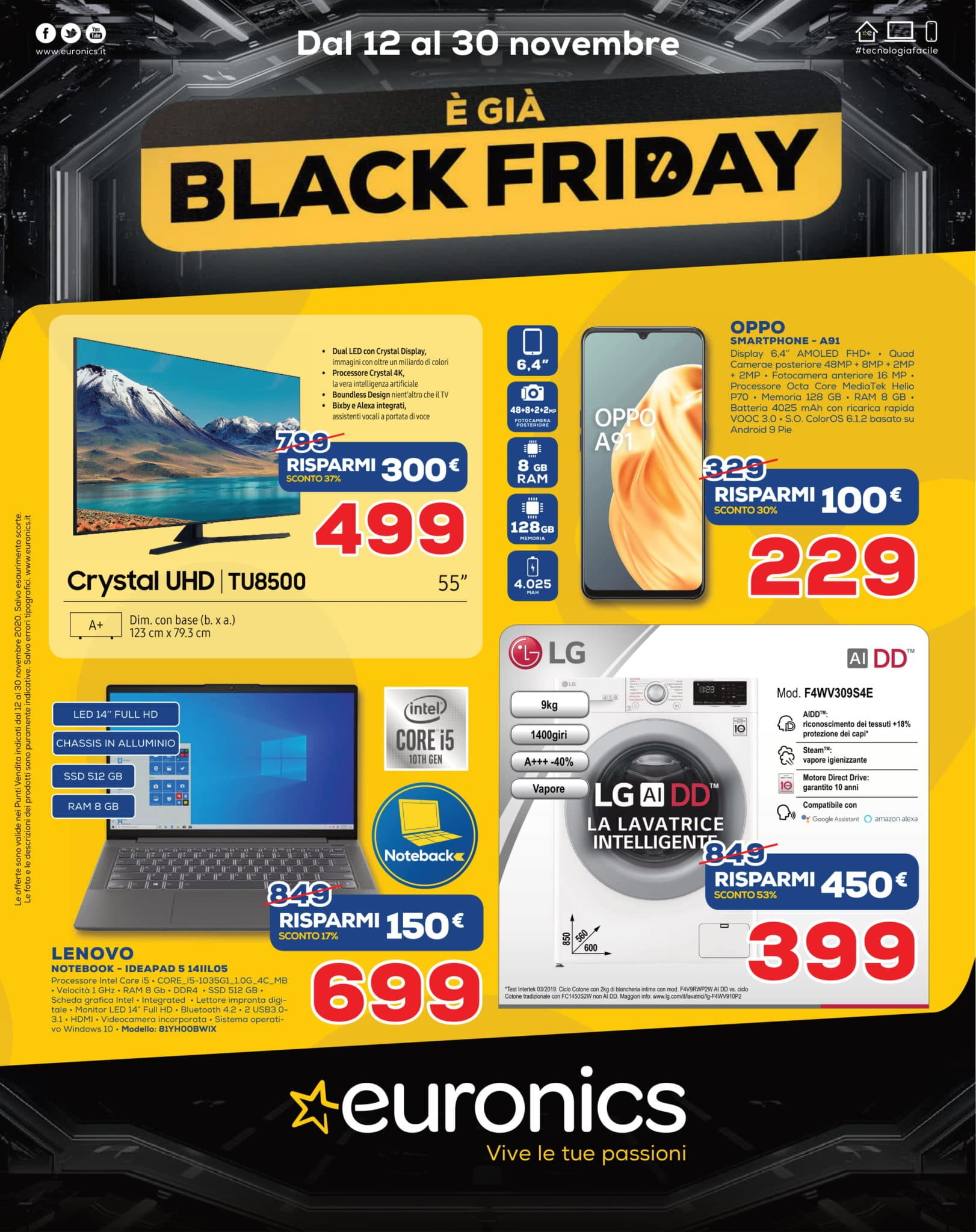 Volantino Euronics Black Friday 12 Novembre - 30 Novembre 2020